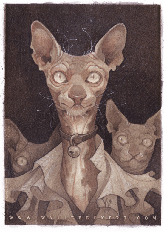 Illustration by Wylie Beckert: a hairless cat in fine clothing.