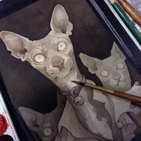 Wylie Beckert's traditional painting art process: watercolor wash on watercolor paper.