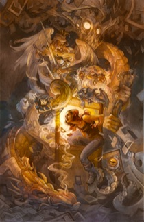Illustration by artist Wylie Beckert - a girl journeys into the world inside a Magic: The Gathering card.
