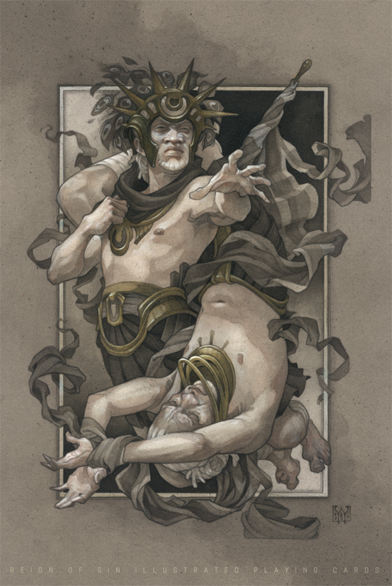 Reign of Sin illustrated playing cards by Wylie Beckert